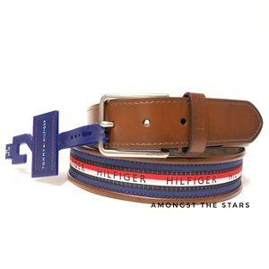 Tommy Hilfiger Flag Logo Faux Brown Leather Belt